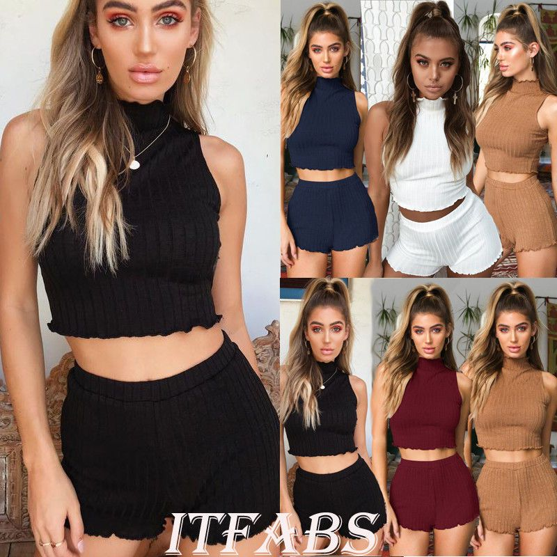 f86c92e22e4 Women 2 Piece Set Crop Top and Shorts Bodycon Outfits Summer Casual  Jumpsuit NEW  outfits