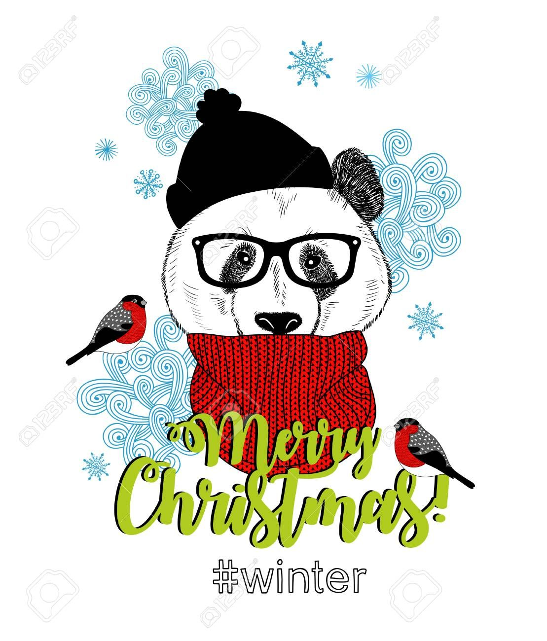Merry Christmas card with funny panda animal in modern hipster style. Vector illustration for winter holidays. , #sponsored, #funny, #panda, #animal, #Merry, #Christmas