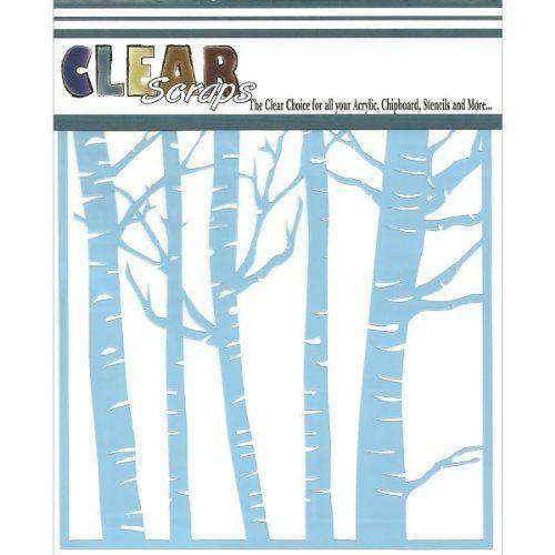 Clear Scraps Cssm6frst Translucent Plastic Film Stencil Forest