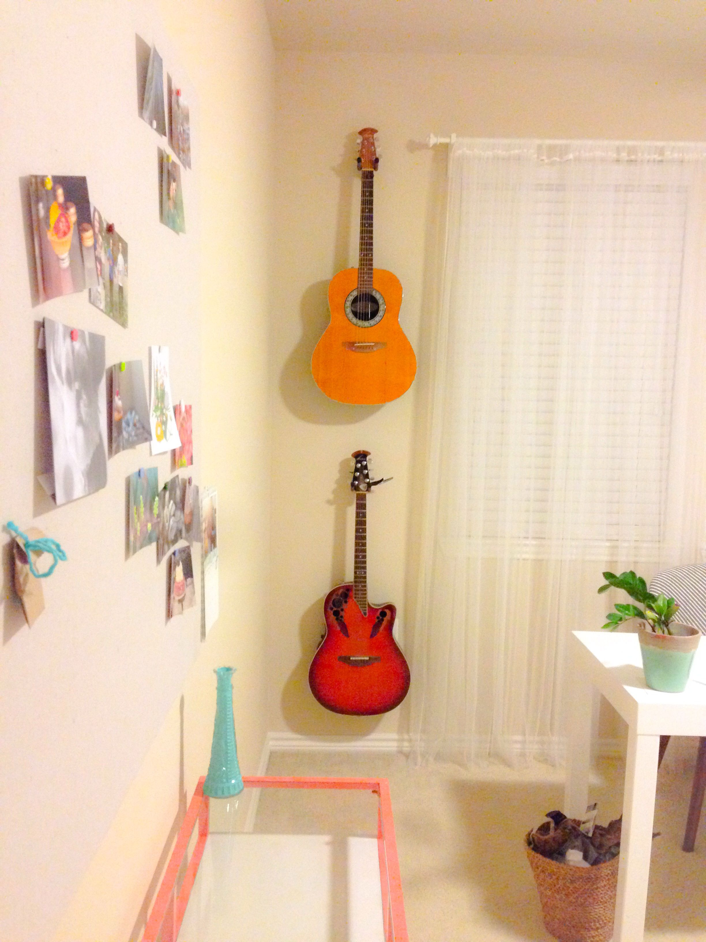 Hang guitars on the wall--viola! Art. #office #decor | Our room ...