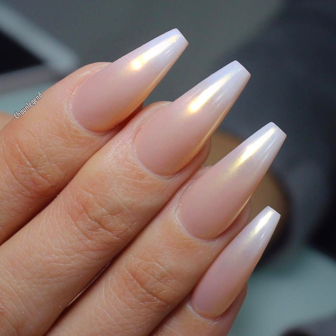 Pearl Ombre Long Coffin Nails. So pretty! Love Love Love ❤ #nail ...