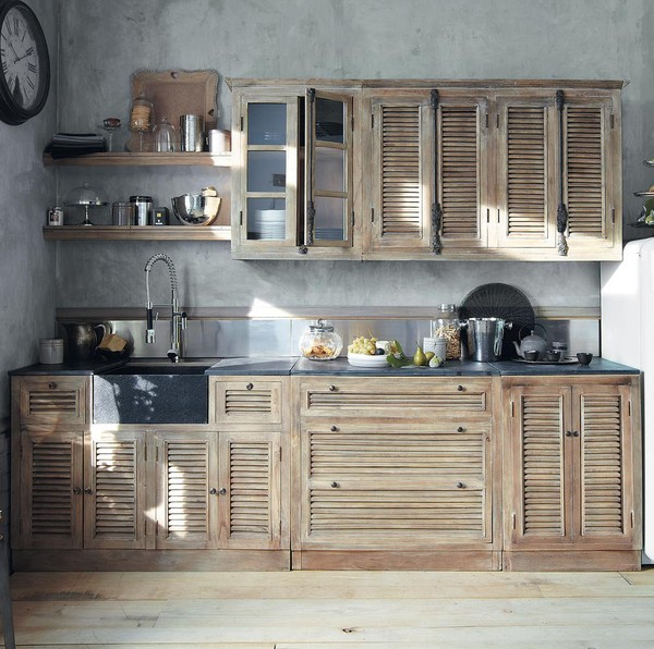Reusing old wooden shutters   Rustic kitchen cabinets