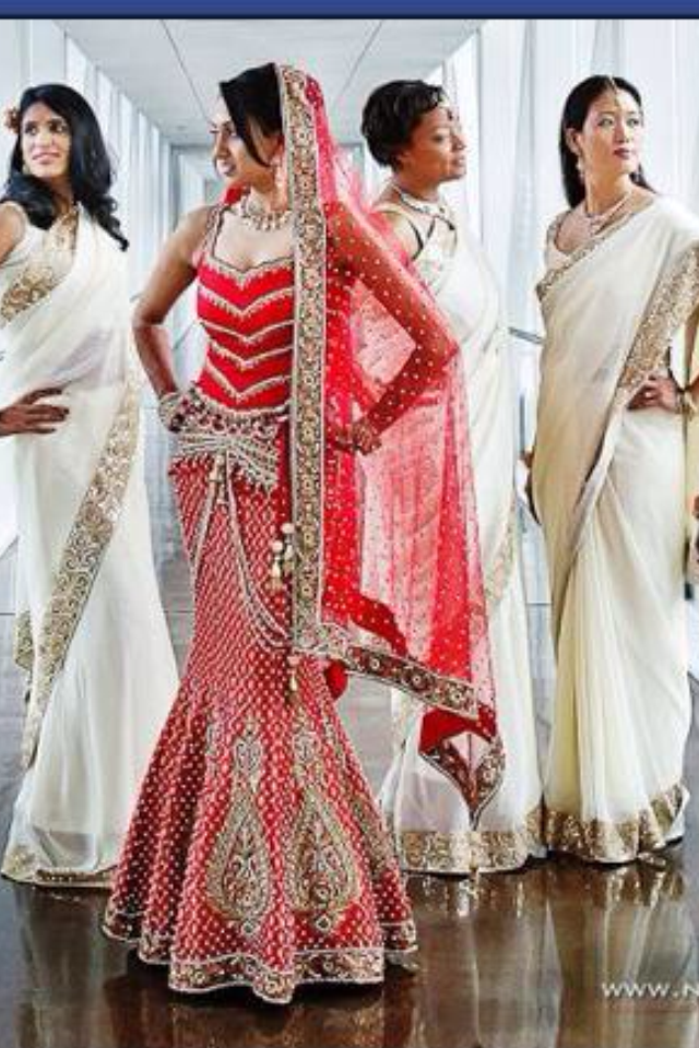 I love the bridesmaids! Custom Indian Bridal/Wedding Gown by Image ...