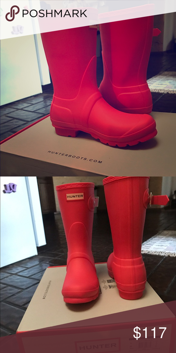 Brand New Coral Hunter Boots Boots🥃 Hunter Boots Shoes Winter & Rain Boots