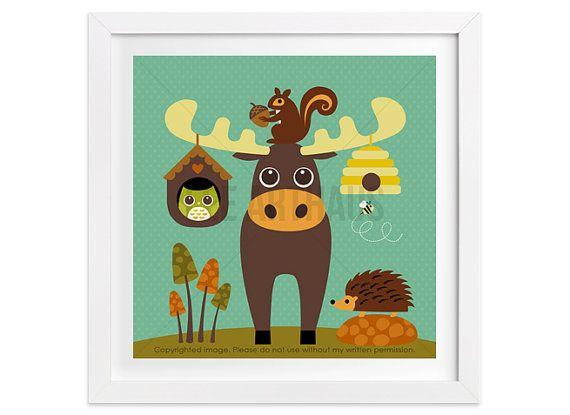 187 Moose Wall Art  Moose and Beehive Wall Art  by leearthaus