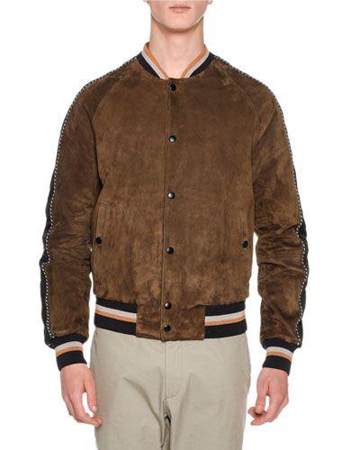 1686e978f LANVIN Suede Bomber Jacket W/Striped Trim, Brown. #lanvin #cloth ...