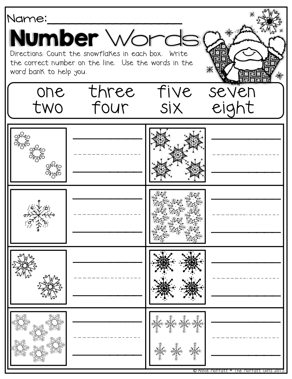 worksheet Snowflake Worksheets winter math and literacy packet no prep kindergarten number math