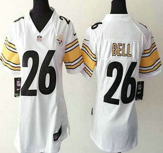 Women s Pittsburgh Steelers Jersey 26 LeVeon Bell Nike White Game Jerseys 0d224f39b