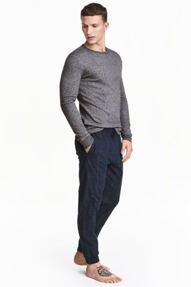 pantalon de pyjama en coton bleu fonc carreaux homme. Black Bedroom Furniture Sets. Home Design Ideas