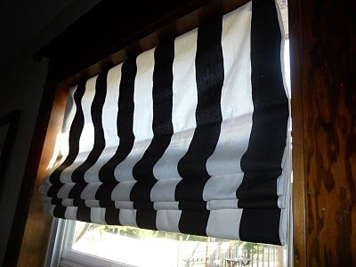 No Sew Black White Stripe Roman Shades Decor Eye Candy