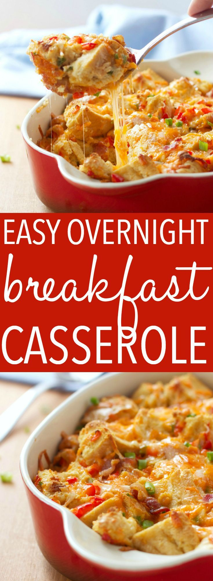 Easy Make-Ahead Breakfast Casserole This Easy Make-Ahead Breakfast Casserole is a delicious, lighter twist on an old family favourite, A make-ahead breakfast casserole with bacon, eggs, and cheese! Recipe from !