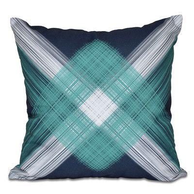 "Breakwater Bay Hancock String Art Geometric Print Outdoor Throw Pillow Size: 18"" H x 18"" W, Color: Navy Blue"