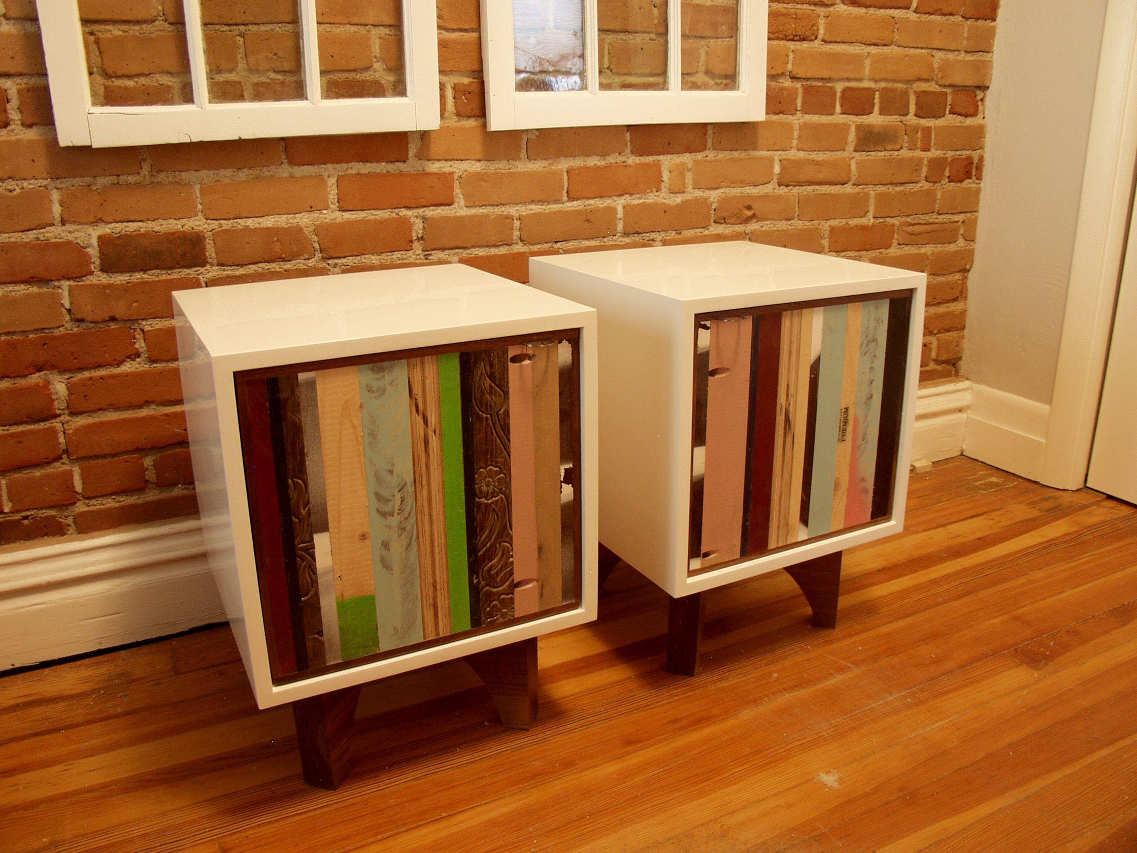 Repurposed End Tables Found Scraps Walnut White