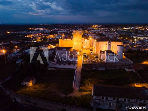Estremoz cityscape and Castle in night lights , #AD, #cityscape, #Estremoz, #Castle, #lights, #night #Ad