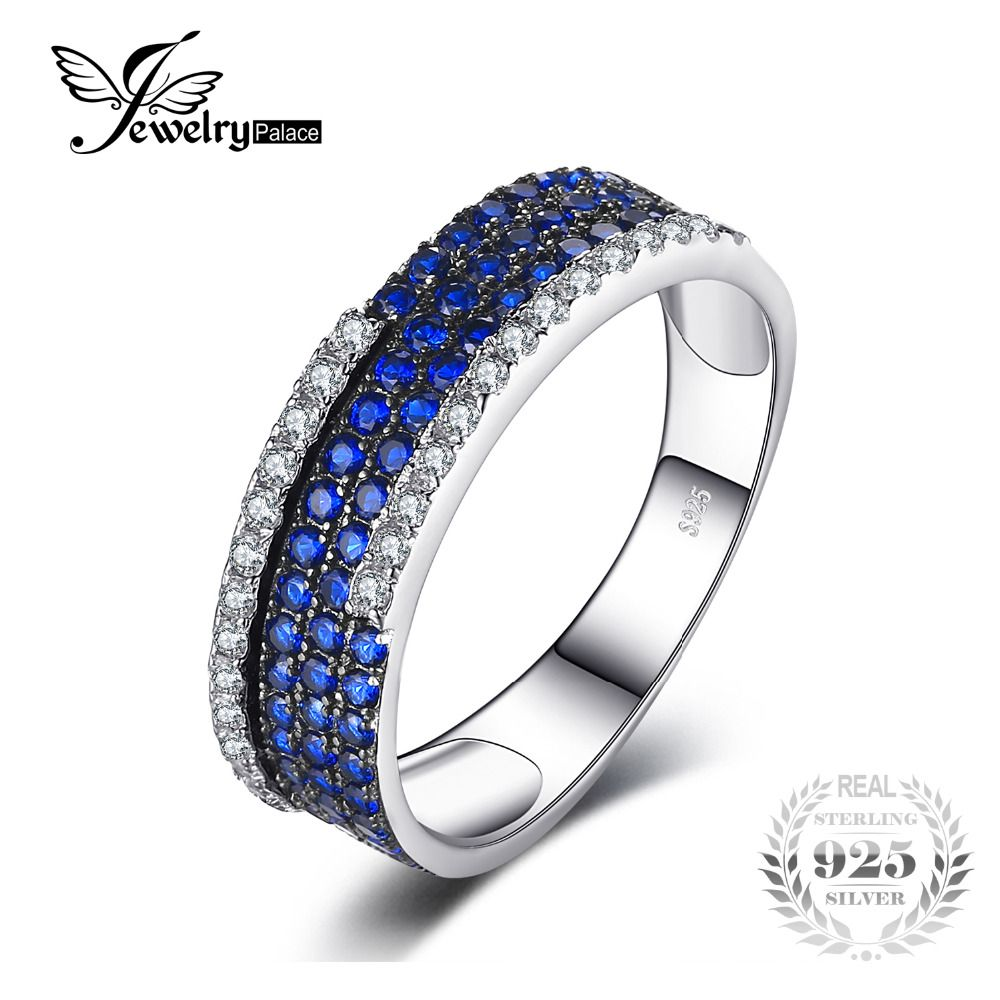 c12ca9ac3c1f JewelryPalace 0.8ct Created Blue Spinel Cluster Cocktail Ring 100% Real 925  Sterling Silver Fashion