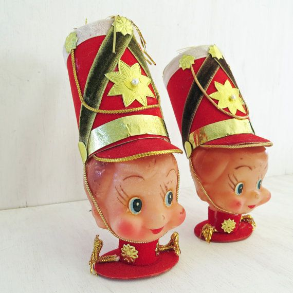 Marching Band Christmas Ornaments Part - 42: Items Similar To 2 Red Vintage Drummer Boy/Marching Band Rubber Head Christmas  Ornaments 2 Red Drummer Boys On Etsy