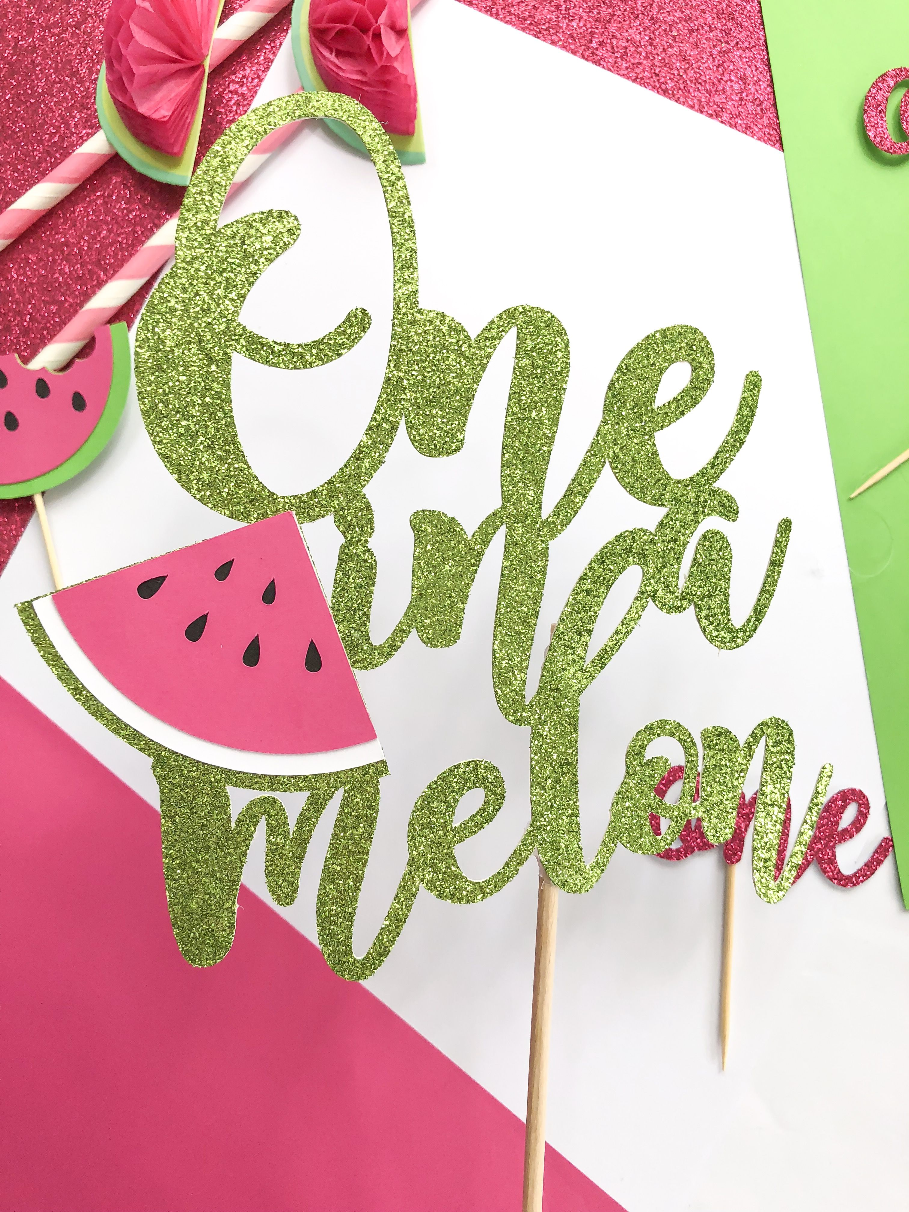 08c0ba3cf29 ONE in a Melon - Watermelkn Cake Topper - Watermelon Party - Summer Party -  First Birthday