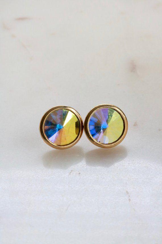 Vintage Aurora Borealis Stud Earrings