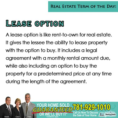 💡#TipTuesday💡  New real estate term and definition to guide you in your real estate journey!   👍A lease option is an agreement that gives a renter a choice to purchase the rented property during or at the end of the rental period.   👍It also prohibit the owner from offering the property for sale to anyone else.    #RealEstateTerms #TipTuesday #NorthShoreRealEstate #GreaterBostonRealEstate #RealEstate #YourHomeSoldGuaranteed #GuaranteedSale #TheBeatriceRealtyGroup  #Middleton #Topsfield t