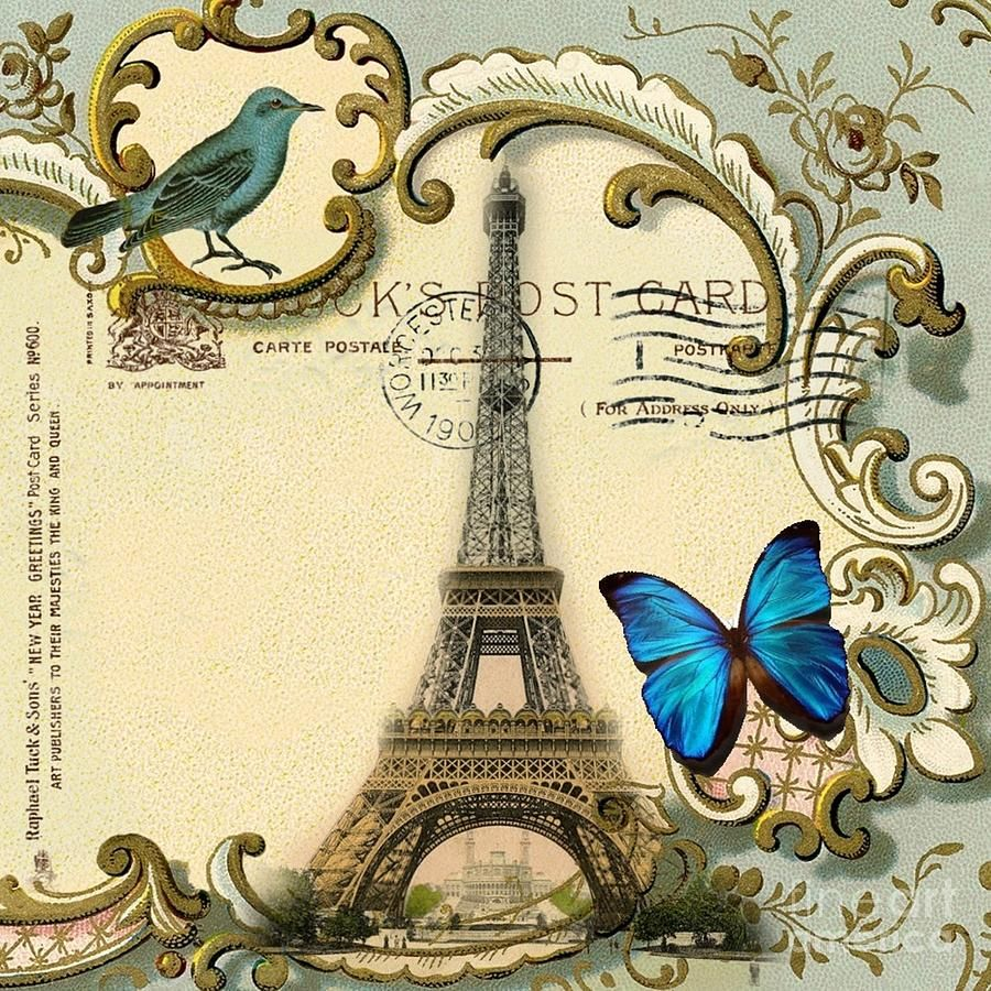 Art Deco Swirls Butterfly Eiffel Tower Paris Digital Art by ...