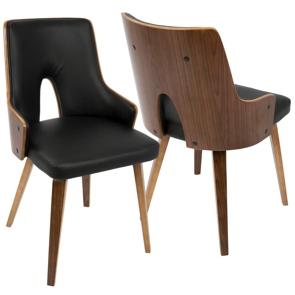 Lumisource Stella Mid Century Walnut And Black Modern Dining Chair