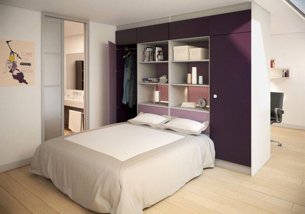 pour optimiser l espace la t te de lit comprend une armoire et des espaces de rangement et la. Black Bedroom Furniture Sets. Home Design Ideas