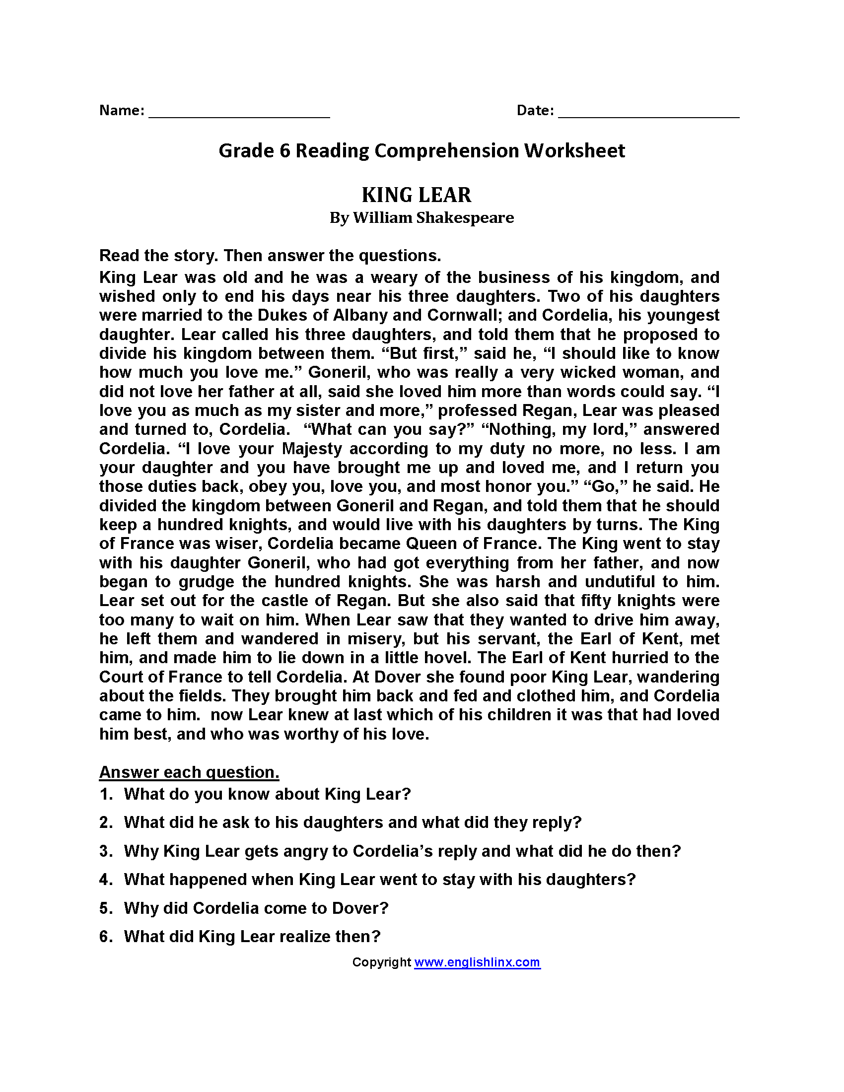 King Lear Sixth Grade Reading Worksheets