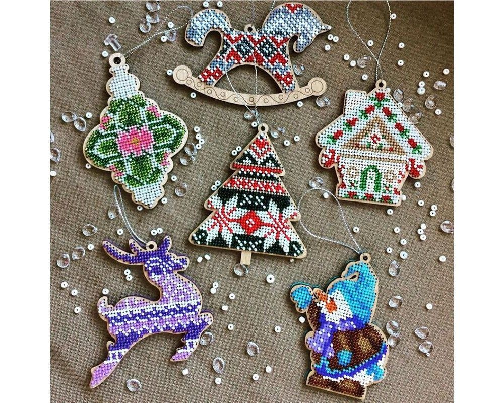 Diy Christmas Tree Toy Kit Xmas Tree Beading Embroidery Bead Stitching Wood Decor Christmas Embroidery Beaded Christmas Ornaments Christmas Cross Stitch