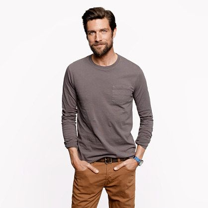 78a49573324d All day, every day guys! Grey longsleeve J.Crew tee and chinos ...