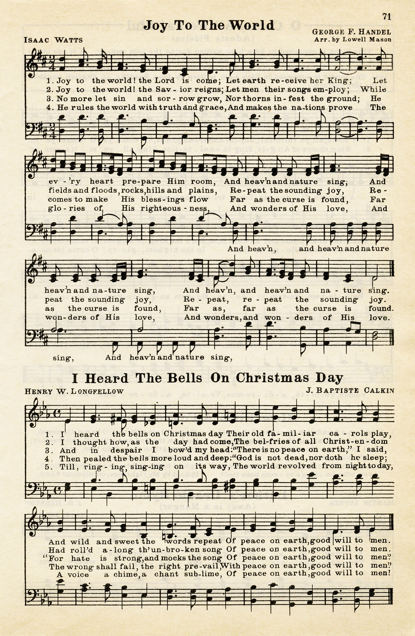 joy to the world, heard the bells on christmas day, vintage sheet ...