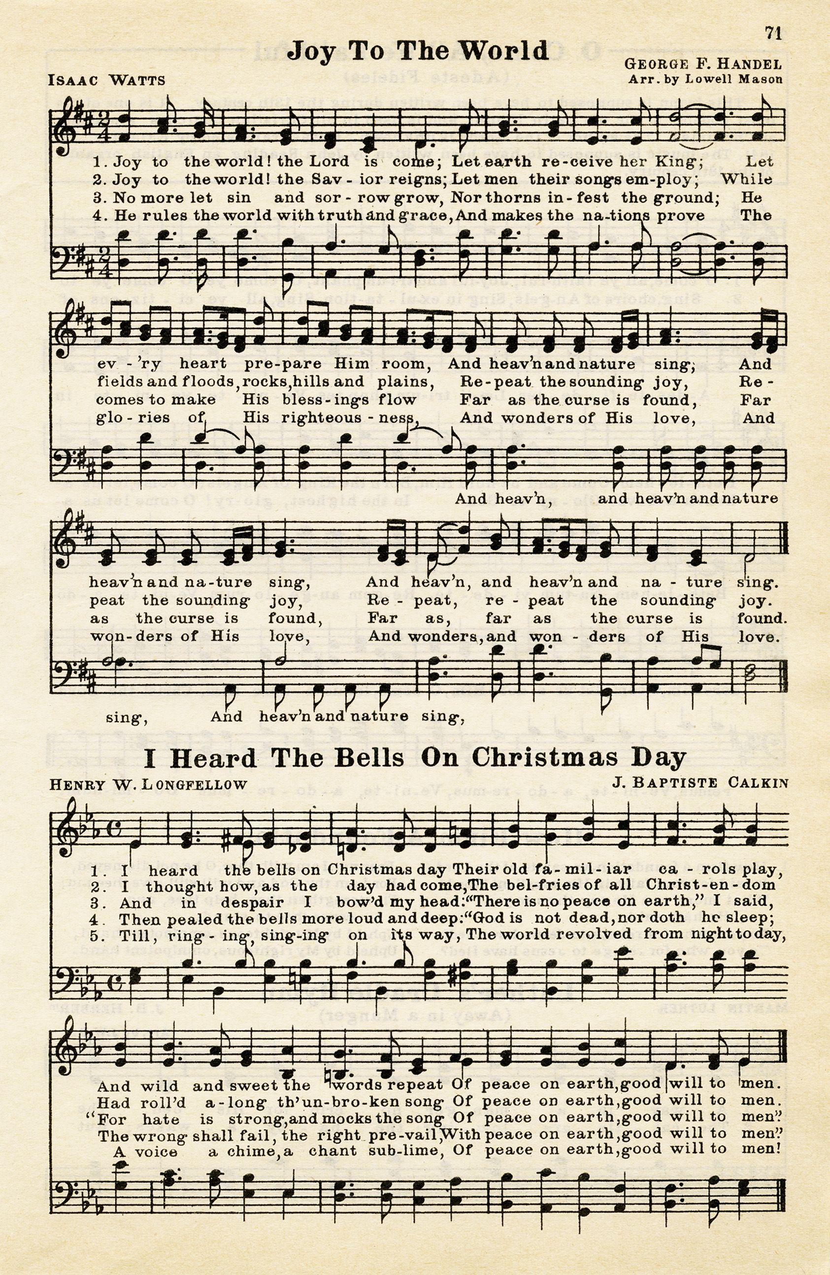 Free Vintage Image Christmas Hymns Christmas sheet