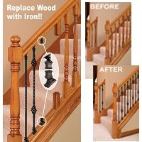Best Stair Makeover – Replacing Wood Balusters With Wrought Iron Balusters Stair Railing Makeover 400 x 300
