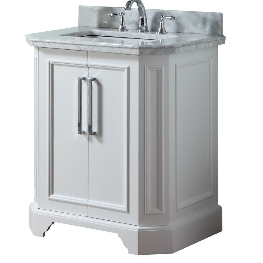 Allen roth 31 in white delancy single sink bathroom - Lowes single sink bathroom vanity ...