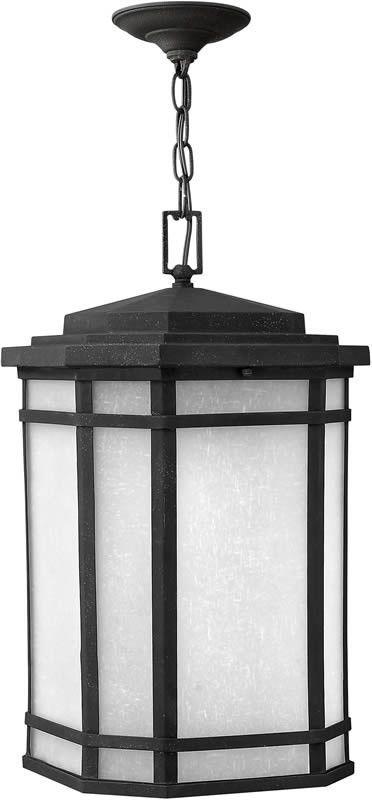 "0-068681>12""""w Cherry Creek 1-Light LED Outdoor Hanging Lantern Vintage Black"