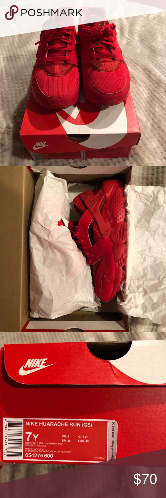 dcbc2bfbbf12 red huaraches all red huaraches. super comfy and cute sneaker. size ...