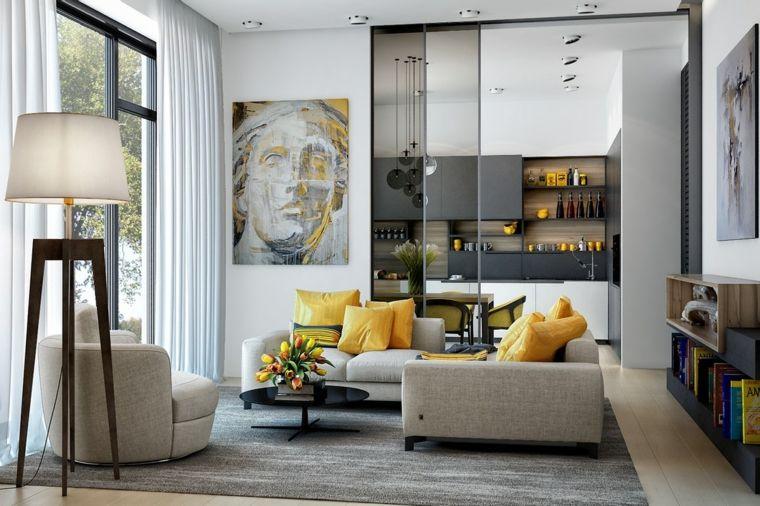 Salotti moderni e una proposta con divano grigio e cuscini ...