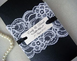 Lace invitations with contrasting colors