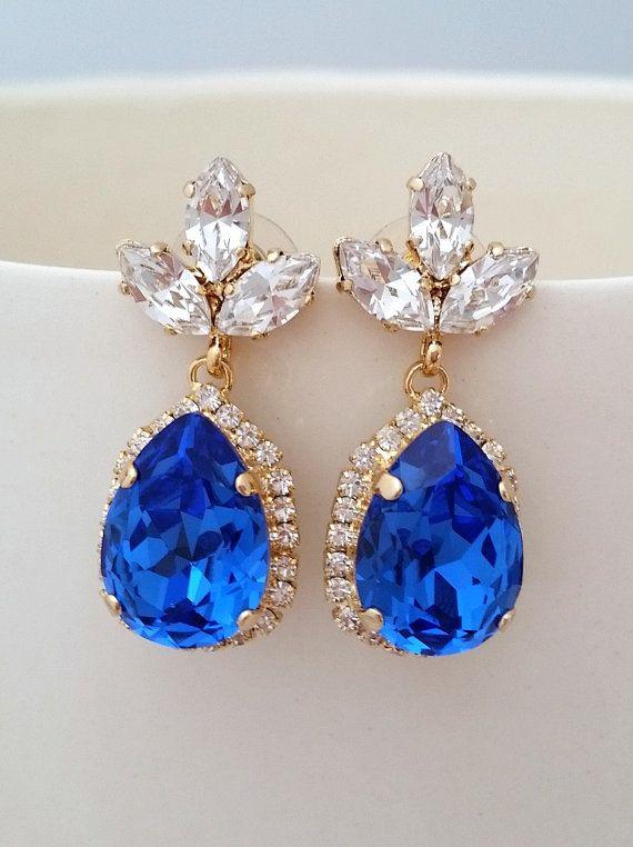 Sapphire Blue And Clear Chandelier Earrings Drop