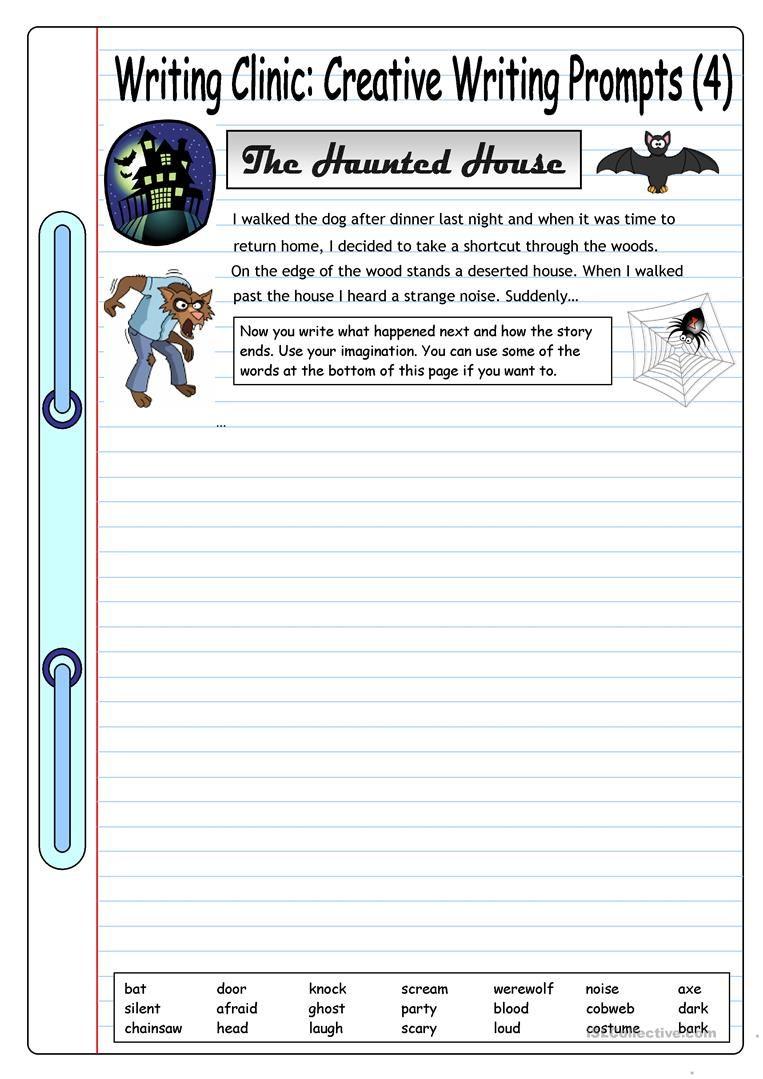worksheet Creative Writing Prompts Worksheets writing clinic creative prompts 4 the haunted house worksheet free