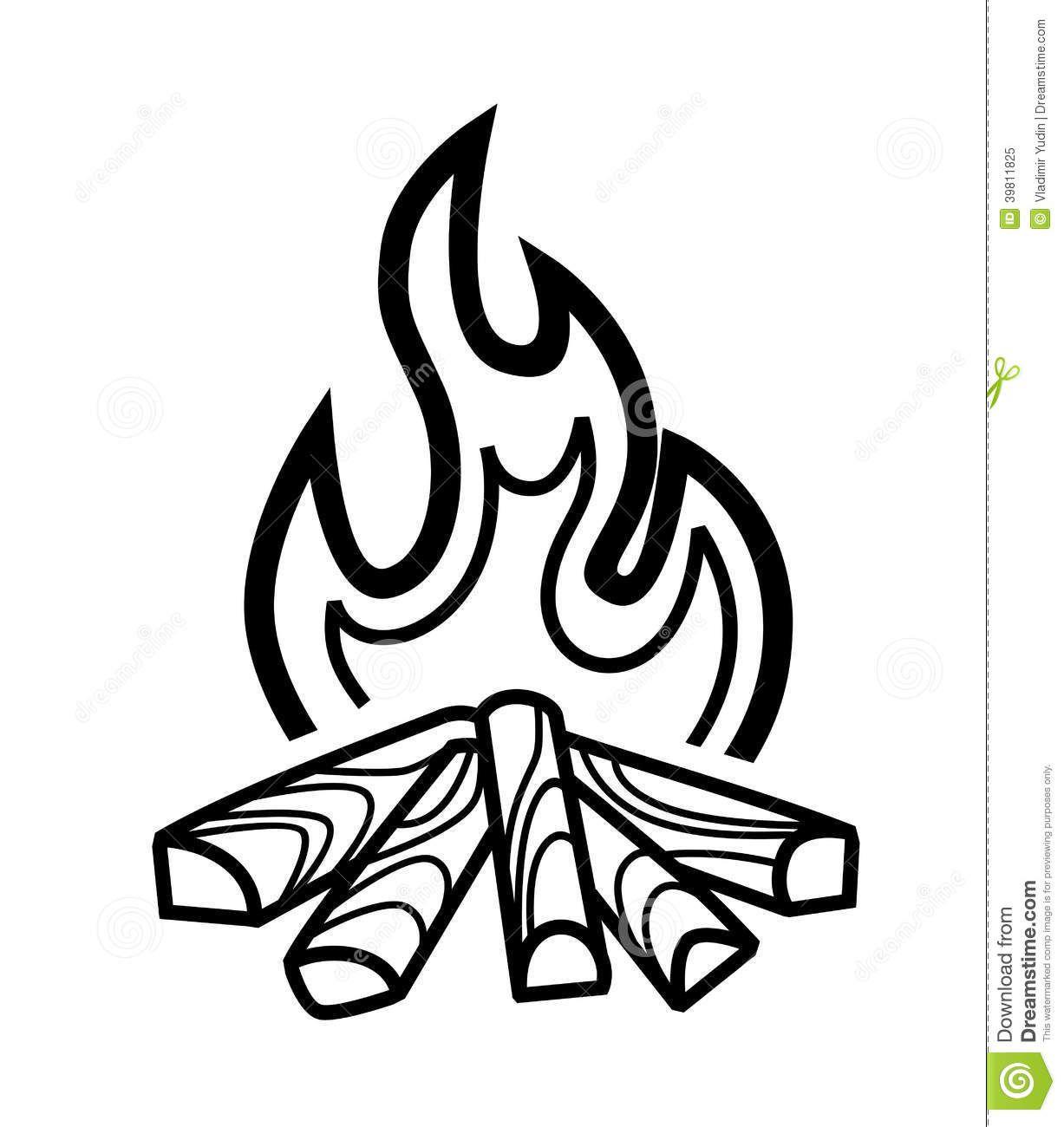 Campfire Icon Vector Black White Background 39811825 1227