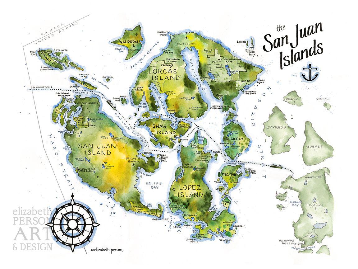 Map of the San Juan Islands  Illustration by Elizabeth Person