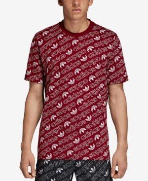 aab6021eb adidas Men's Originals Logo-Print T-Shirt - Red 2XL | Products ...