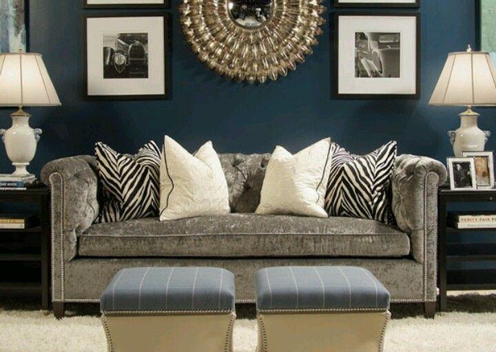 Dark Blue Walls Black White Accents W A Grey Couch Modern