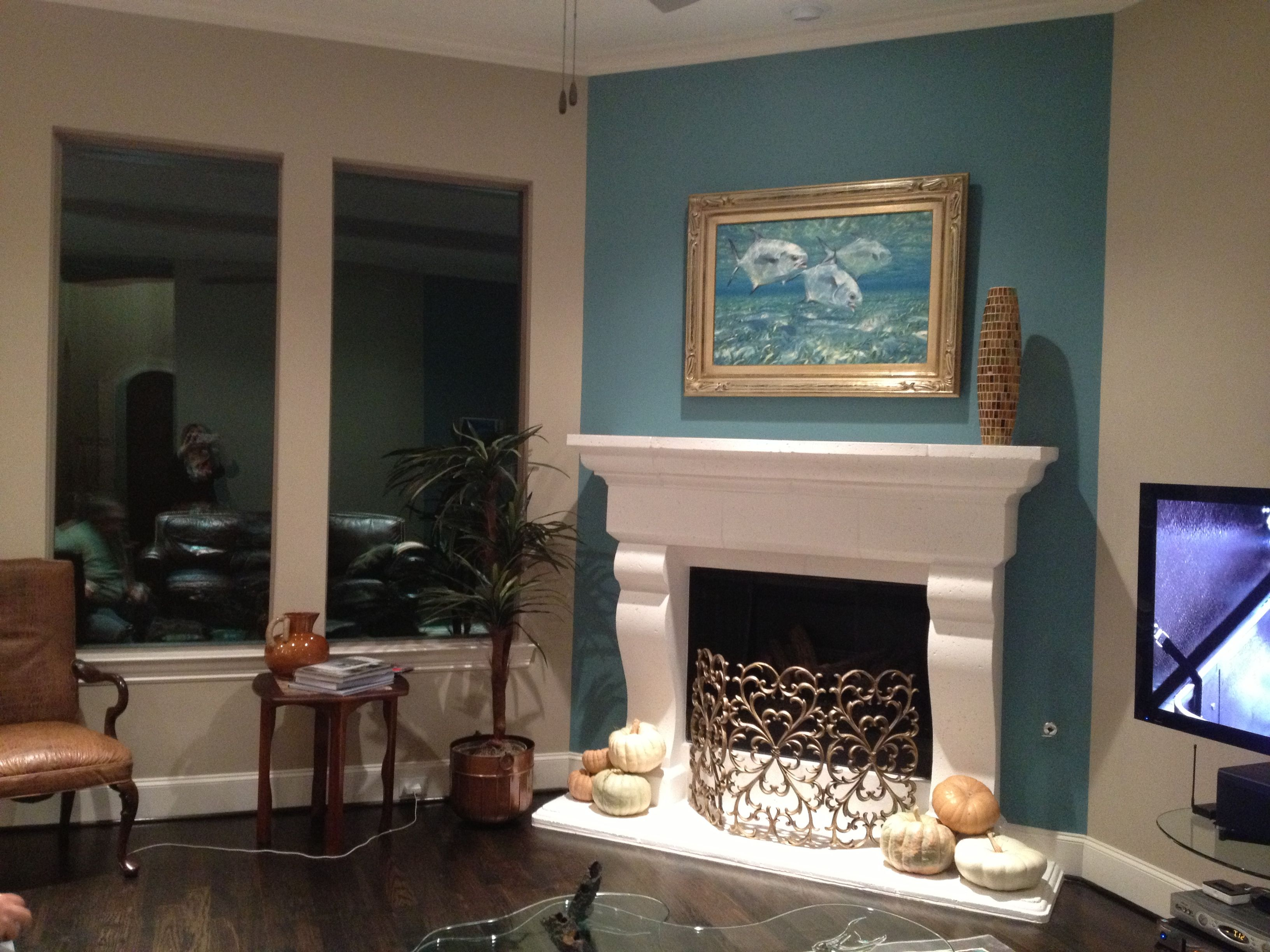 fireplace accent wall complements painting interior design