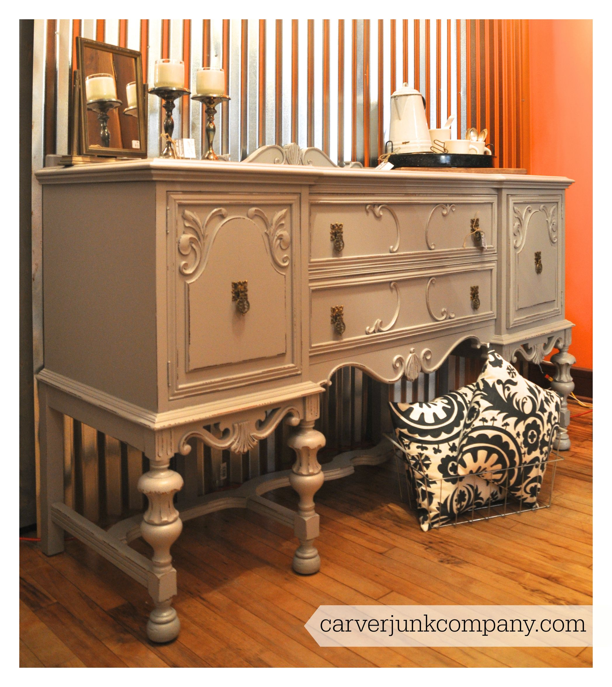 Captivating Painted Antique Buffet | Grey Gray | Distressed | $549 | Carver Junk Company