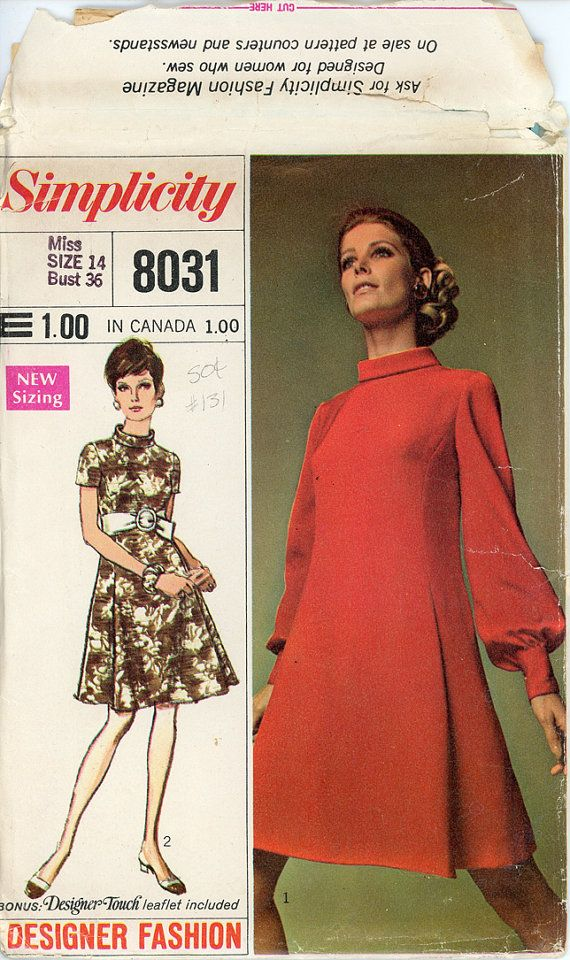 1960s Dress Pattern Simplicity 8031 Bust 36 by CynicalGirl on Etsy ...