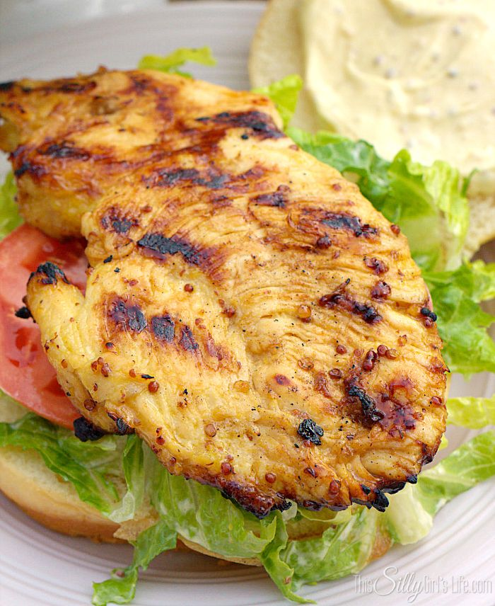 Mustard Grilled Chicken Sandwiches with Creamy Mustard Sauce - This Silly Girl's Kitchen