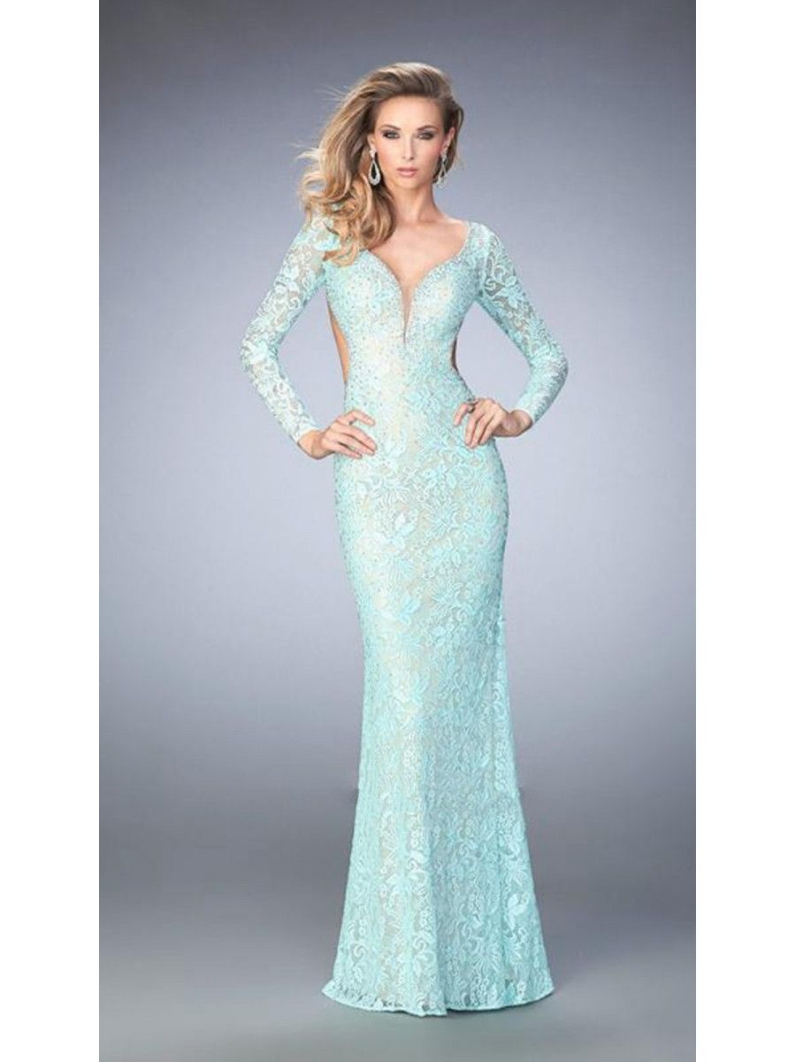 Long Sleeves Lace Mermaid Party Evening Prom Dresses 1602007 | Lace ...