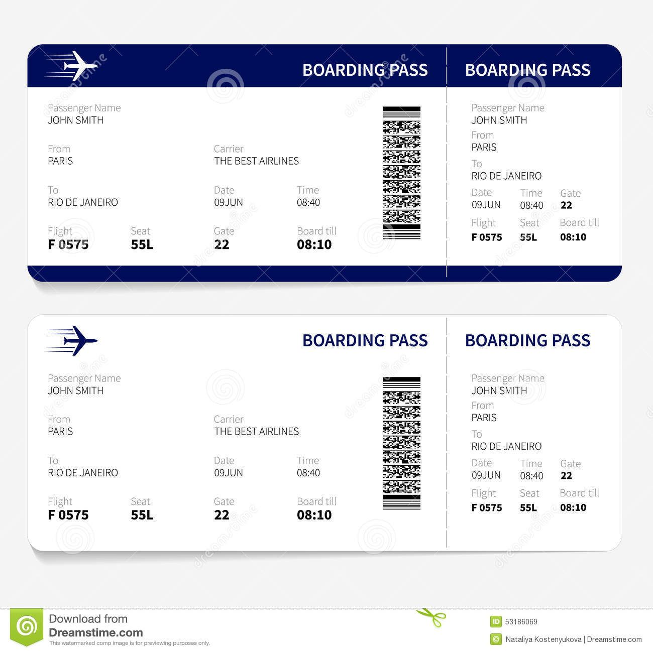 boarding-pass-airline-ticket-traveling-plane-vector ...