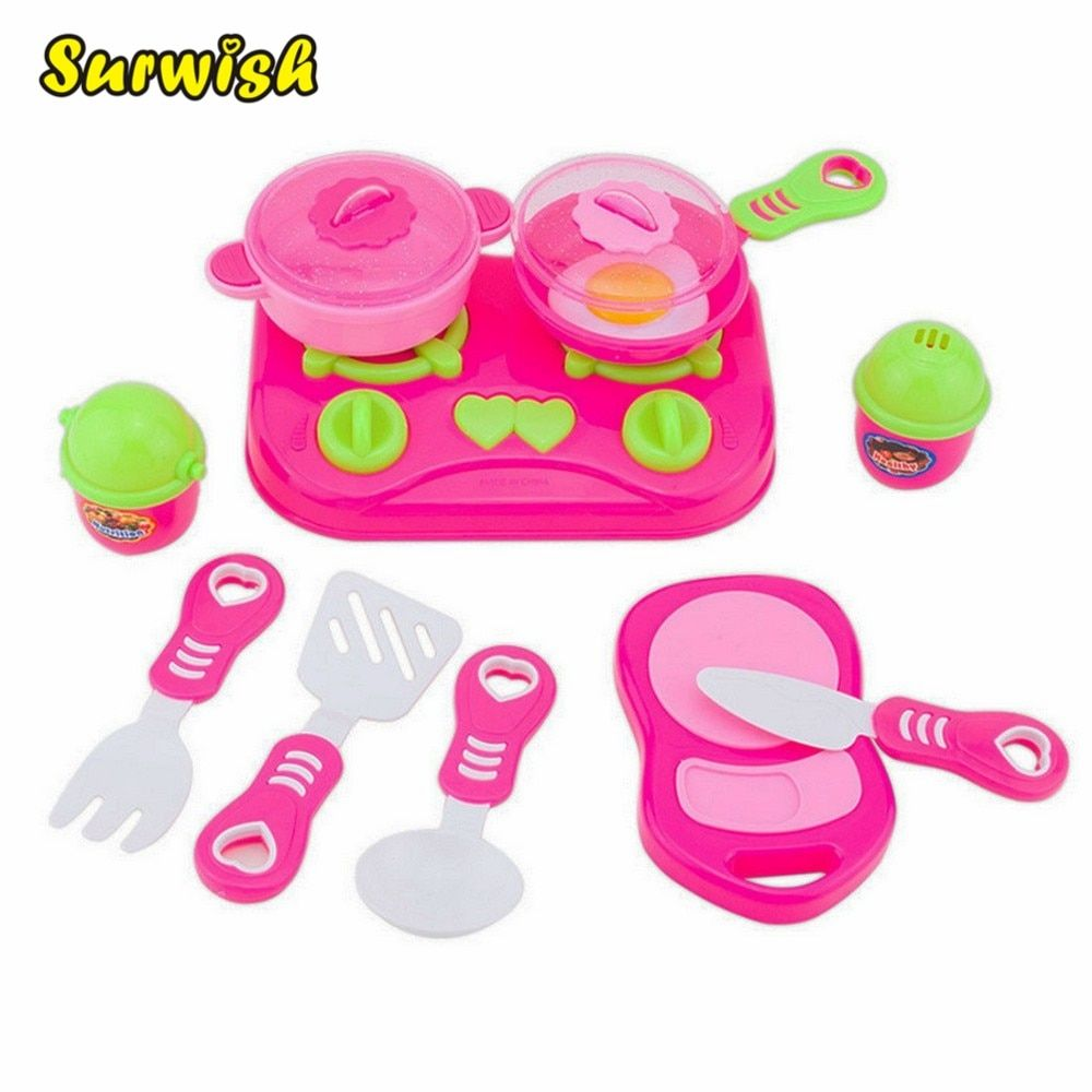11Pcs//Set Plastic Kitchen Pretend Role Play Toy Cooking Food Tableware Kids Toys